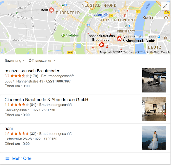 Google my Business Brautmode Köln