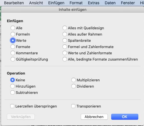 In Excel Inhalte als Werte einfügen