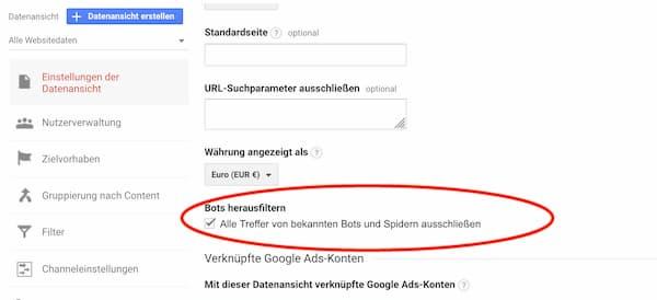 Bots bei google Analytics heraus filtern