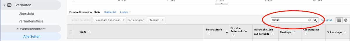 Facebook FBCLID Parameter in Google Analytics suchen