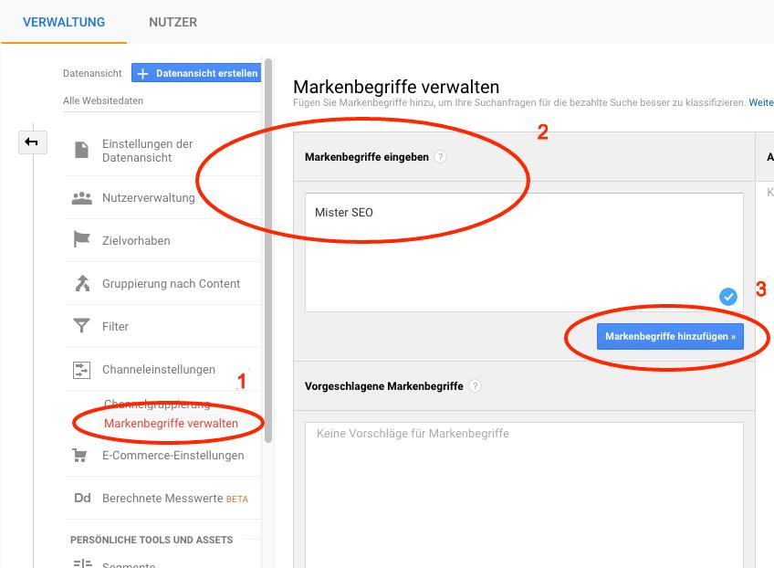 Markenbegriffe in Google Analytics verwalten