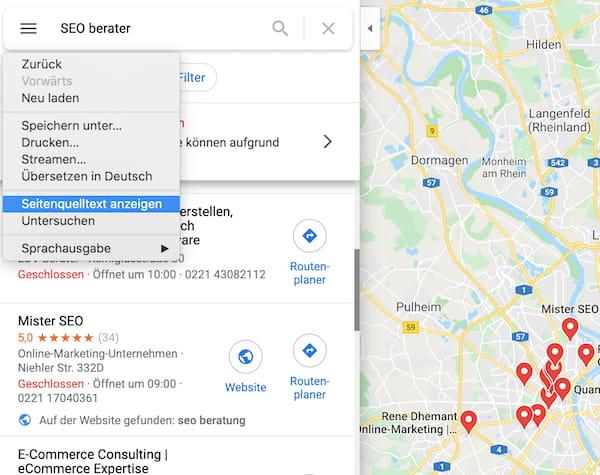 Google Maps Quelltext