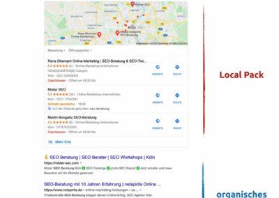 Suche nach SEO Berater - Local pack - organische Suche